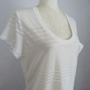 Nike Semi-Sheer White on White Striped Tee Medium